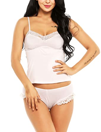 a7222129f ADOME 2 Pieces Sexy Sleeveless Pajamas Set Lace Camisole Sleepwear for Woman  S-3XL White