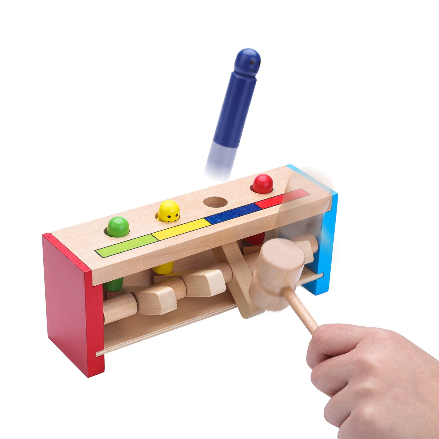 AENMIL Pounding Bench Wooden Toy with Mallet Pounding Bench Early Educational Development Toys for Preschool Toddlers