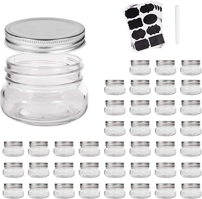 Mini Mason Jars,glass jar 5OZ With Lids(Silver),Ideal for Jam,Honey,Wedding Favors,Shower Favors,Baby Foods,40 PACK,