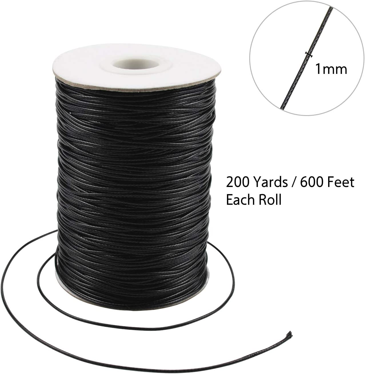Foraineam 200 Yards 1mm Waxed Cotton Cord Thread Bracelet Necklace String for Jewelry Making Beading Crafting