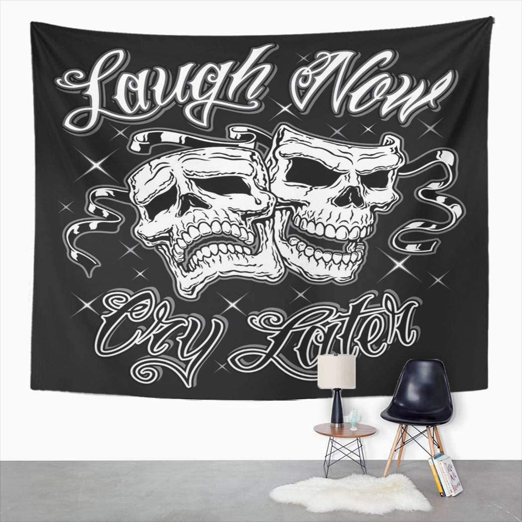 Suklly Tapestry Wall Hanging Horror Comedy Tragedy Laugh Now Cry Later Drama Skull Masks Face Home Decor Polyester Living Bedroom Dorm 60 X 80 Inches Picnic Mat Beach Towel Bed Cover