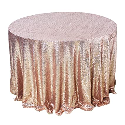 AMAZLINEN Sparkly Rose Gold Round Sequin Tablecloth (108u0026quot; ...
