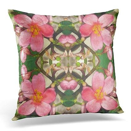 Amazon TORASS Throw Pillow Cover Flower Jatropha Pink Floral Mesmerizing Pink And Green Decorative Pillows