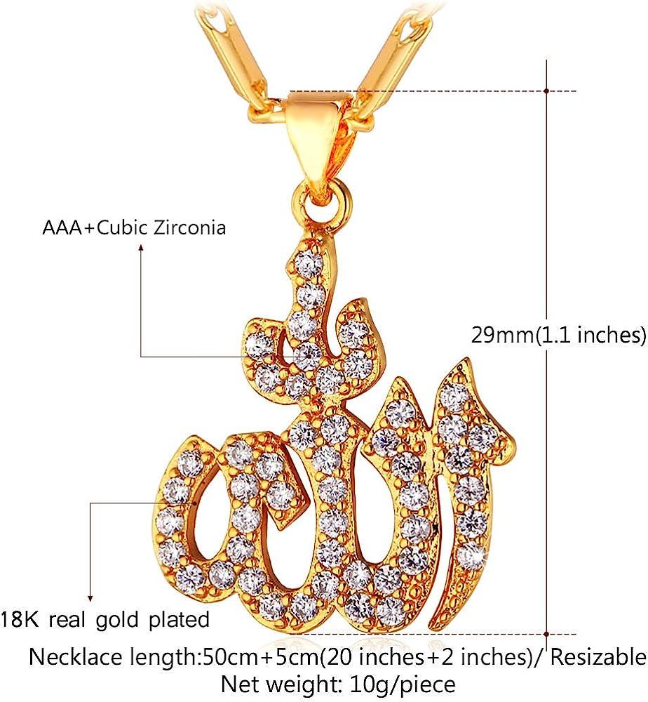 18k Gold plated Allah islam god symbol pendant unisex man woman long necklace Arabic allah symbol necklace