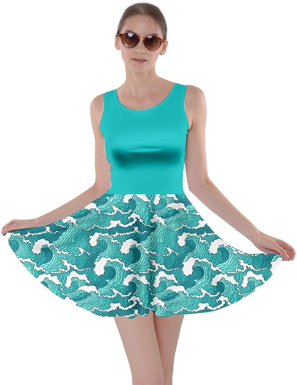 CowCow Womens Japan Style Japanese Sushi Goldfish Fan Dragon Fuji Pattern Skater Dress, XS-5XL