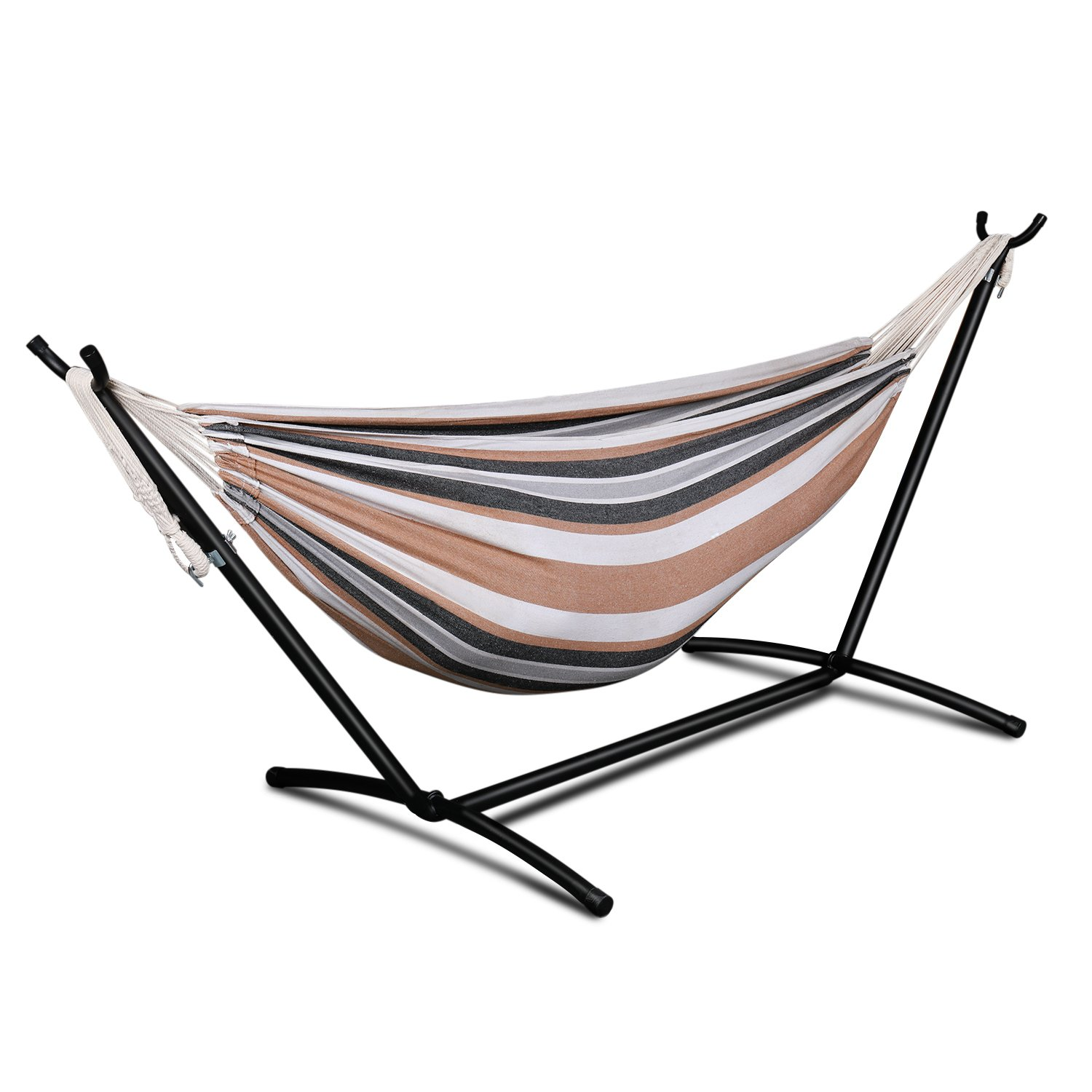 Flexzion Double Hammock with Space Saving Steel Stand Portable Carrying Pouch Case Hanging Rope for Outdoor Camping Backpacking Hiking Garden Beach Yard 450 lbs Capacity for 2 Person