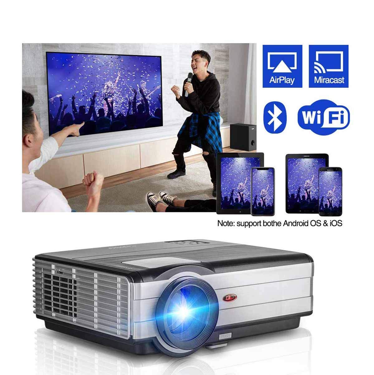 Ai LIFE Proyector Proyector inalámbrico Bluetooth WiFi HDMI 8200 ...