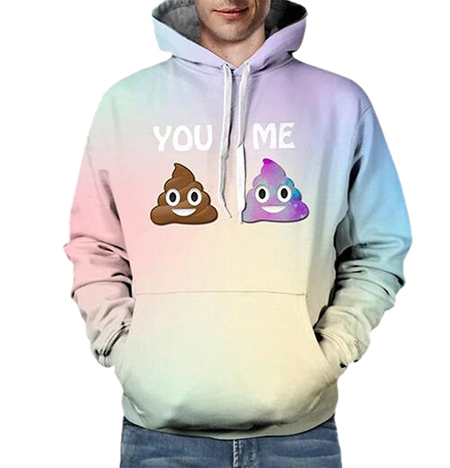 KDHJJOLY New Mens Drawstring Hip Hop Funny Shit Printed Sweatshirts With Hood
