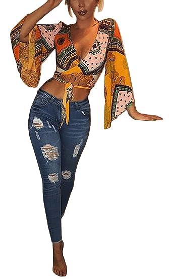 Tops Mujer Elegante Primavera Verano Manga Larga V Modernas Casual Cuello Playa Fiesta Corto Blusas Impresión Floral Moda Correas Cruzadas Casual Camisetas: ...