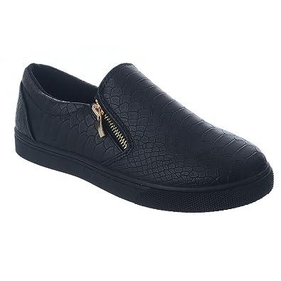 Ladies Black Slip On Flat Skater Side Zip Trainers Sneakers Croc Plimsolls UK 3