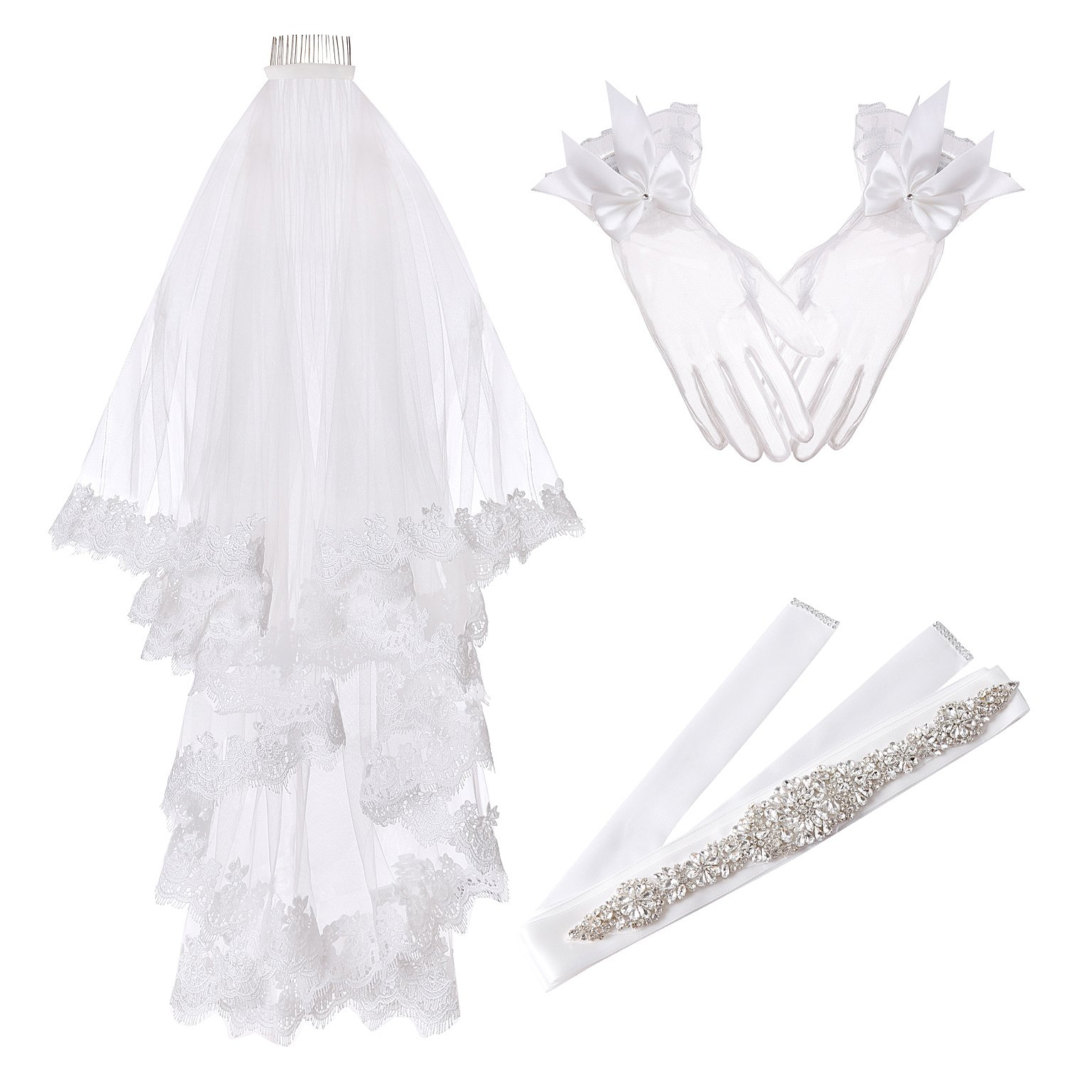 Molliya 3pcs Wedding Bridal Decorations Kit, Veil Sash Gloves Set for Party Supplies Wedding Bridal Shower Supplies