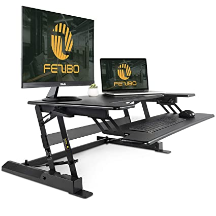 amazon com standing desk converter with height adjustable fezibo rh amazon com 32 standing desk adjustable workstation riser adjustable height cycling trainer desk/portable standing desk workstation