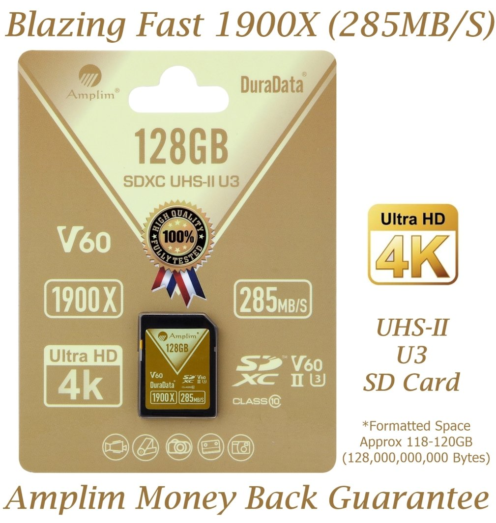 Amplim 128GB UHS-II SD Card: Ultra Fast 285MB/S (1900X), U3, Class 10 High Speed Flash Memory Card for 4K, 8K, Full HD, 3D, HDR, 360 Video. 128 GB / 128G TF XC SDXC Card. New Nov 2017