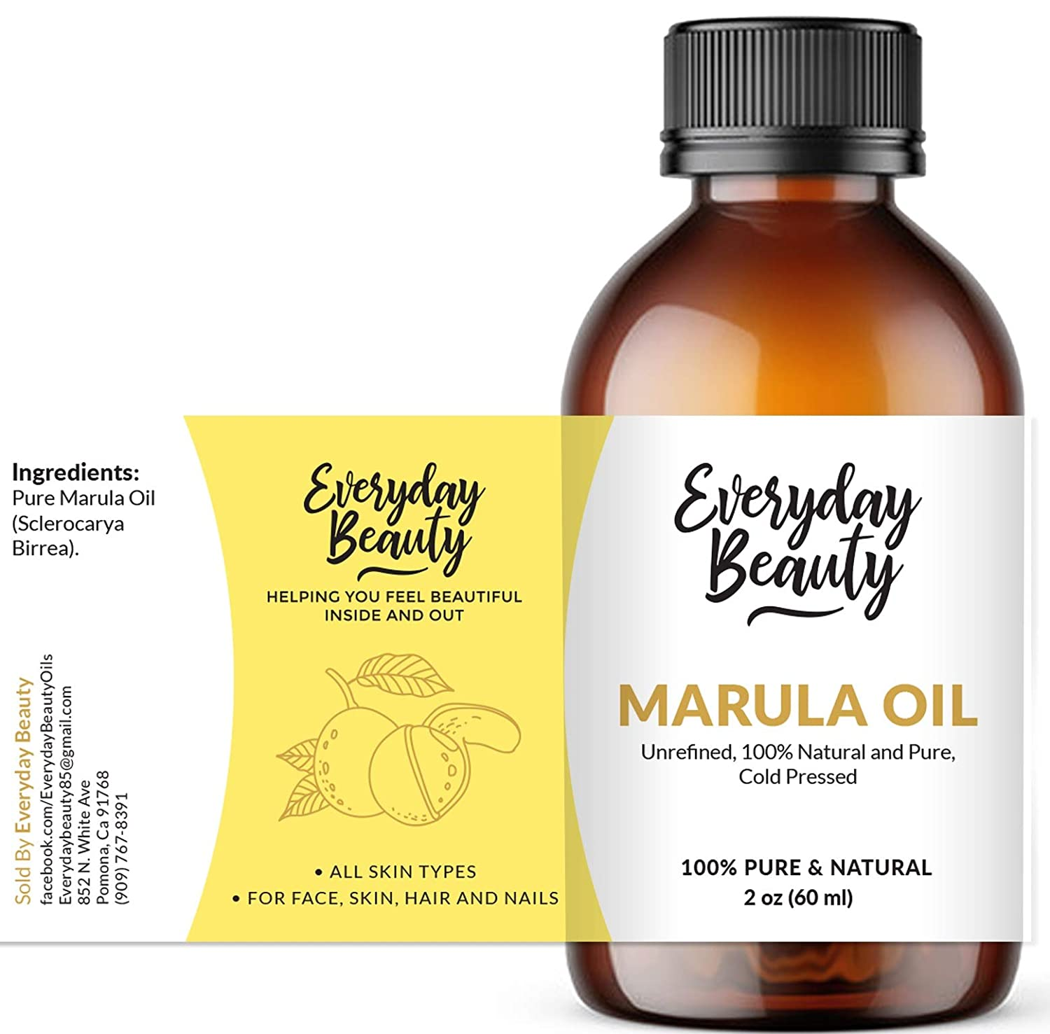 Marula Oil - 100% Pure Extra Virgin Unrefined Luxury Facial Oil 2oz - Cold Pressed & All Natural for Face, Skin and Hair - DIY Cosmetics - Premium Quality Bulk Price: Beauty