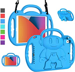 LTROP New iPad 8th Generation Case, iPad 10.2 Case, iPad 7th Generation Case for Kids - Shockproof Handle Stand Shoulder Strap Kids Case for Apple iPad 2020 (8th Gen)/2019 (7th Gen) 10.2-inch,Blue