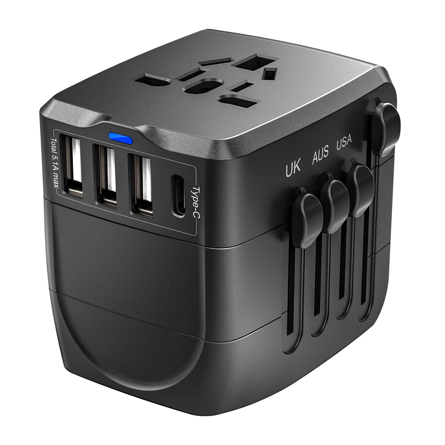 Travel Adapter, 2400W International Power Adapter, Universal 1 Smart Type-C & 3 USB All in One Power Plug Adapter for High Power Appliances for UK, EU, AU, US, Over 150 Countries, Black