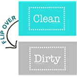 "3.5"" X 2"" Double Sided Dishwasher Flip CLEAN & DIRTY Premium 45 mil Dishwasher Magnet MADE in USA (Aqua & Gray Polka Dot)"