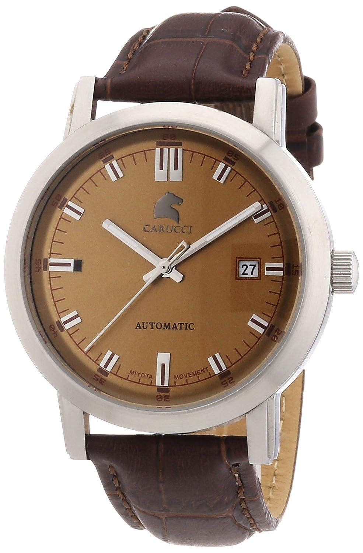 Carucci Watches Messina CA2195BR - Reloj analógico automático para Hombre, Correa de Cuero Color marrón