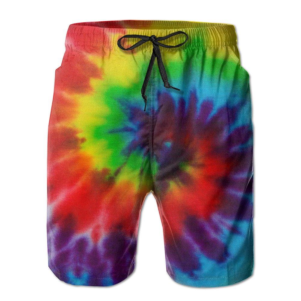 SHINENGST Amazing Tie Dye Summer Swim Shorts Beach Trunks for Men