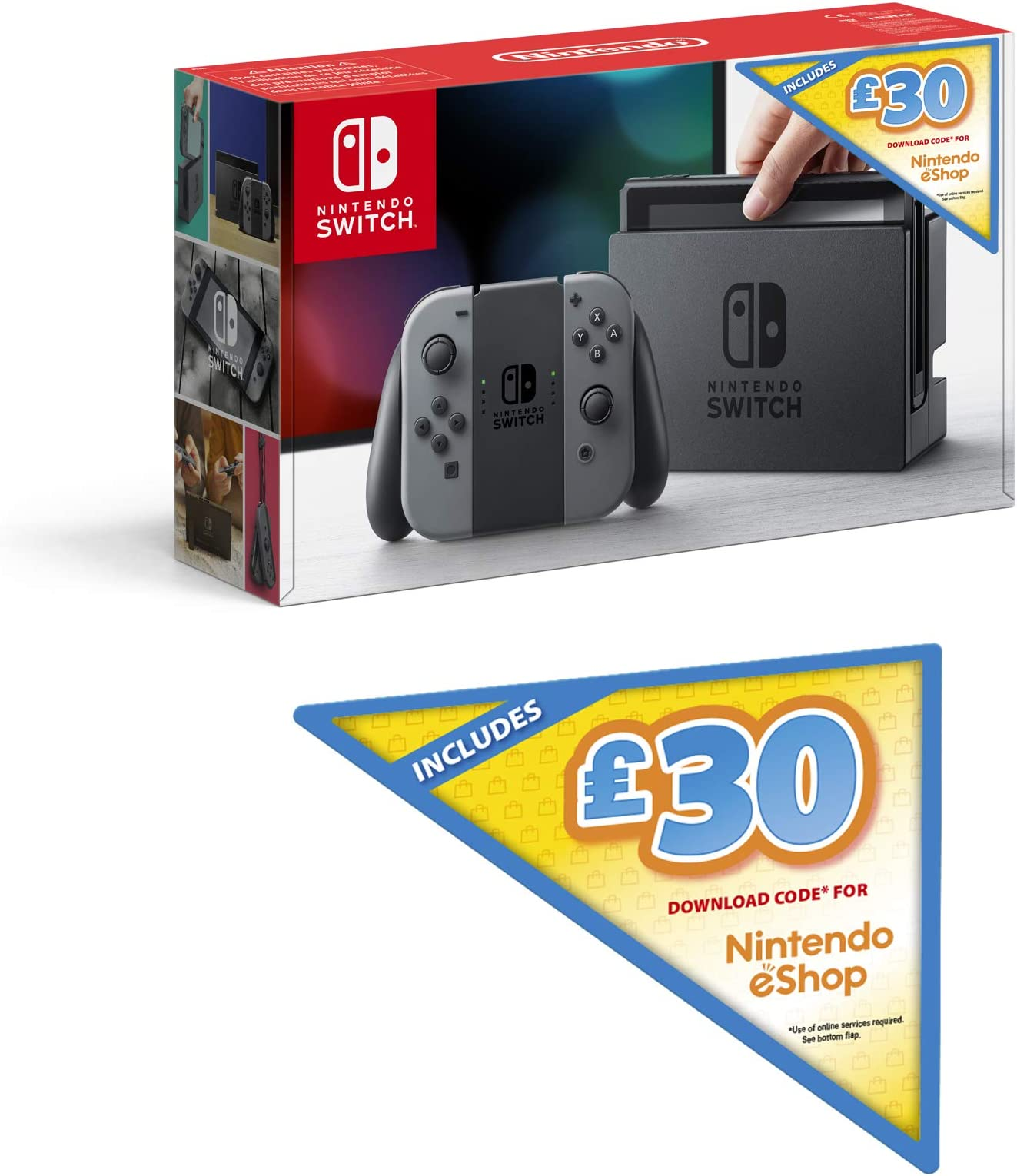 Amazon.com: Nintendo Switch (Grey) + £30 Nintendo eShop ...