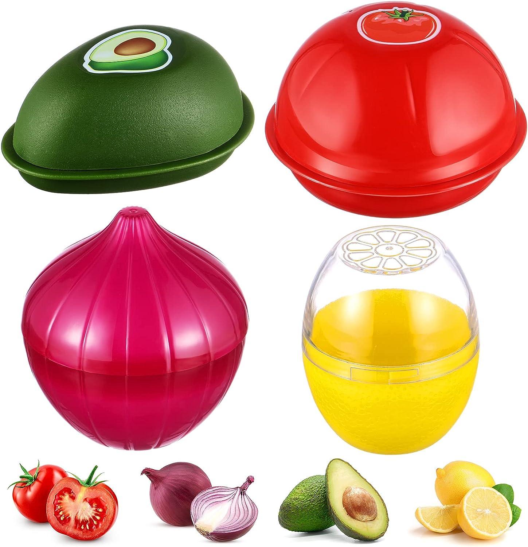 4 Pieces Food Savers Fruit Vegetable Shaped Savers Storage Box Onion Tomato Lemon Avocado Keeper/Saver/Holder Reusable Plastic Refrigerator Box Fresh Storage Bowls for Food Stays Fresh Longer