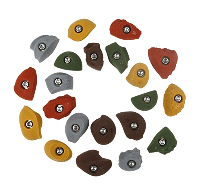 Atomik Climbing Holds 21 Classic Pack Bolt Ons, Perfect for Home or Gym Rock Climbing Walls, Earth Tones