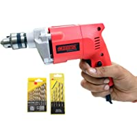 Cheston 10mm Powerful Drill Machine for Wall, Metal, Wood Drilling with 5 pcs Wall bits and 13 HSS bits