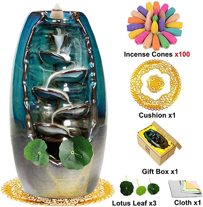TuoFang Incense Burner, Ceramic Waterfall Backflow Incense Burner Holder Creative Aromatherapy Ornamental Home Decor with 100 Pcs Incense Cones, Cushion, Artificial Lotus Leaf