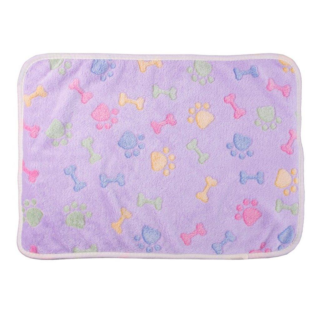 UEETEK Manta de mascota para perro gato, doble cara Mantas de lana de impresión Sleeping Mat cama para perros Gatos Puppy de gatito, púrpura, ...