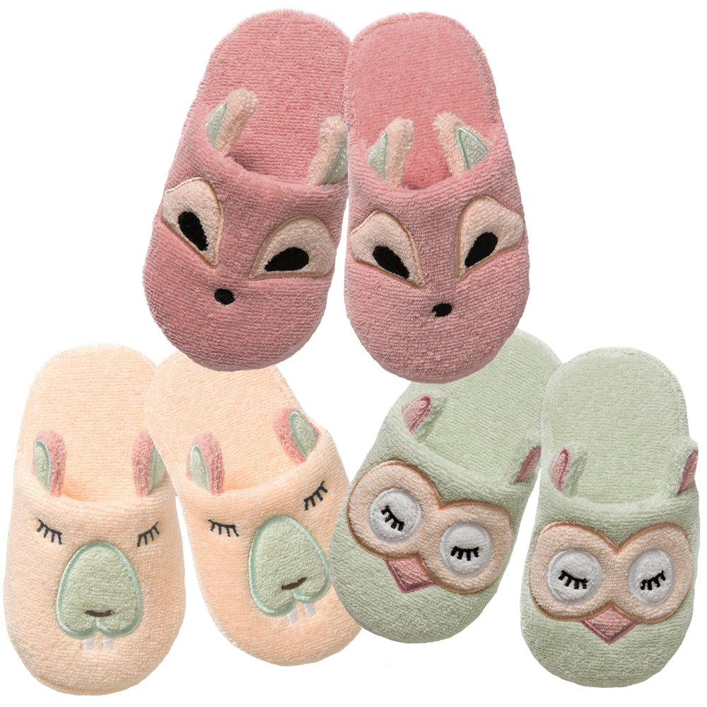 Breganwood Organics Toddlers Terry House Slippers for Boys and Girls, Closed Toe with Non Slip Sole, Pastel Peach Animal Design, Busy Beaver by Breganwood Organics (Image #6)