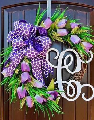 Amazon Com Purple Tulip Front Door Wreath With Script Monogram For
