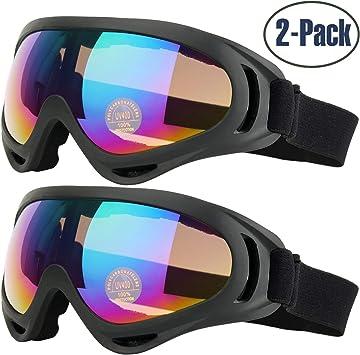 Gafas de Esquí, 2-Pack Gafas de Esquiar para Mujer Hombre, Niños, Juventud Chicos y Chicas, con Protección UV 400, Resistentes al Viento, Lentes Anti-Reflejo y Aislamiento a Prueba de Polvo: Amazon.es: Deportes