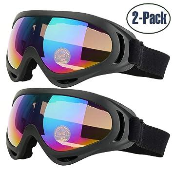873f1c9dae Gafas de Esquí, 2-Pack Gafas de Esquiar para Mujer Hombre, Niños ...