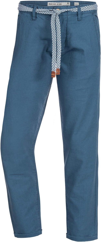 Largo Deportivo Regular Fit Pantal/ón Tiempo Libre para Hombres Indicode Caballeros Haverfield Pantalones De Tela A Partir 55/% Lino Y 45/% Algod/ón 4 Bolsillos Cintur/ón Incluido
