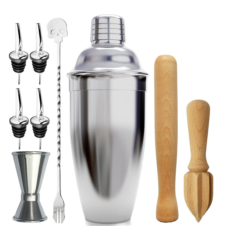 Bar Cocktail Shaker Set Packung von 9-teilig, Messbecher, Lö ffel, Ausgieß er, Holz Muddler, Entsafter le homeware