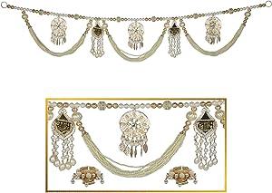 "HATHKAAM 36"" Pearl Beaded Shubh Labh Hanging Toran with Diya Combo for Diwali Decoration Decor Main Front Door Toran Diyas Made by Indian Artisans to Lighten Traditional Deepavali Laxmi Pooja HKDT009"