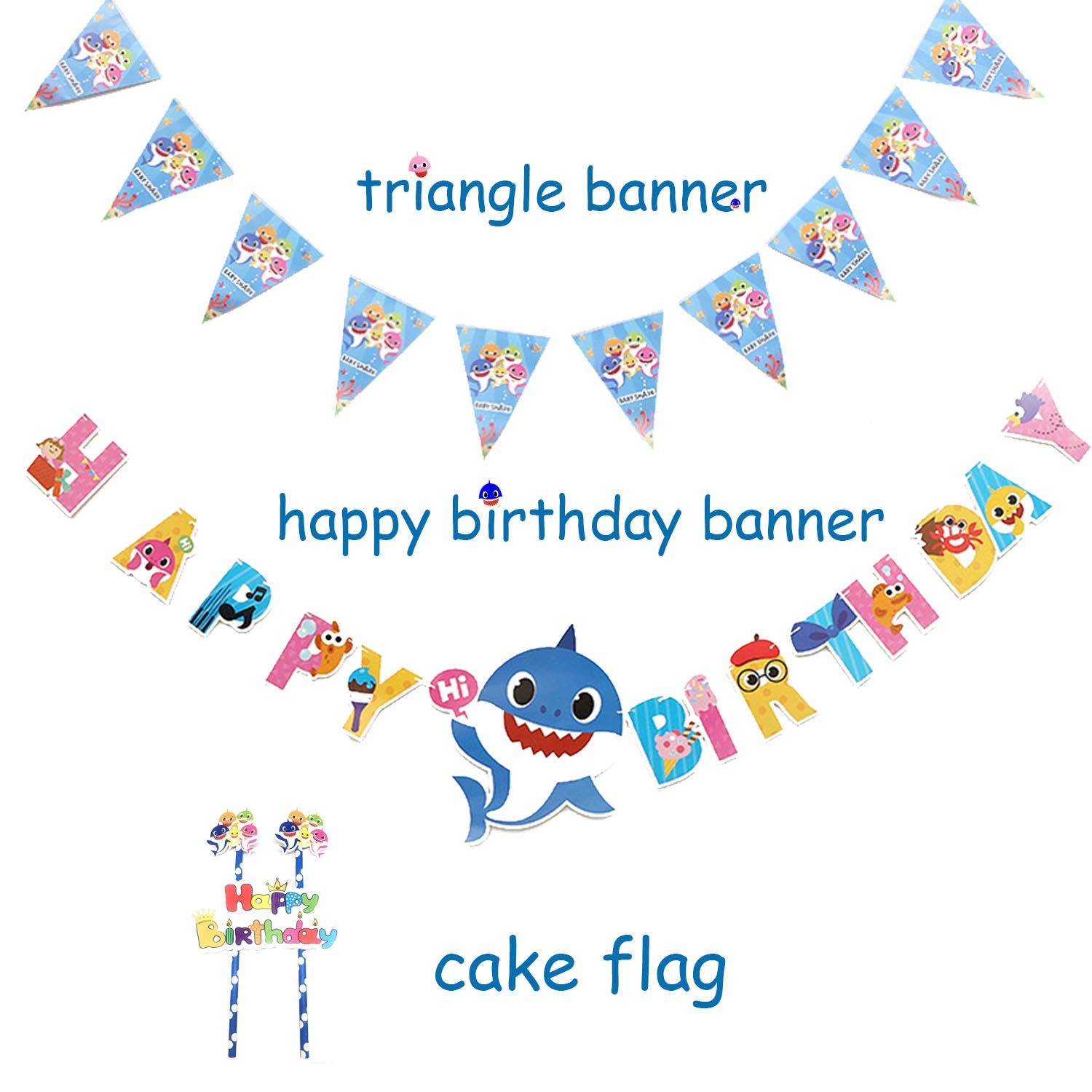 Baby Shark Party Supplies Set - 109 Pcs Baby Shark Themed Birthday Decorations Includes Disposable Tableware Kit Blowing Dragon Paper Hat Gift Bag and Banner - Serves 10 Guest by AiParty (Image #5)