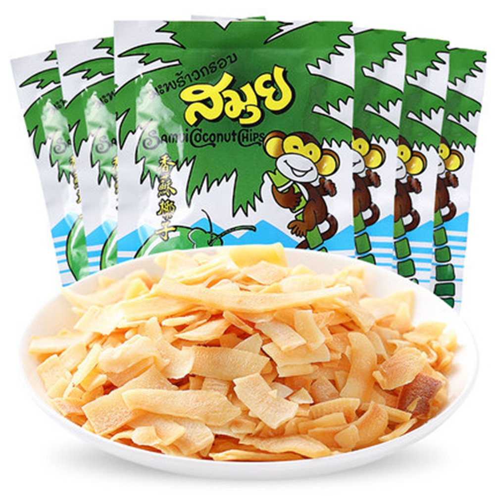Thailand Samui Coconut Chips, Thai Toasted Coconut Chips, Specialty, Snack, Food (240g (8.4 Oz) / Packs 6 40g)