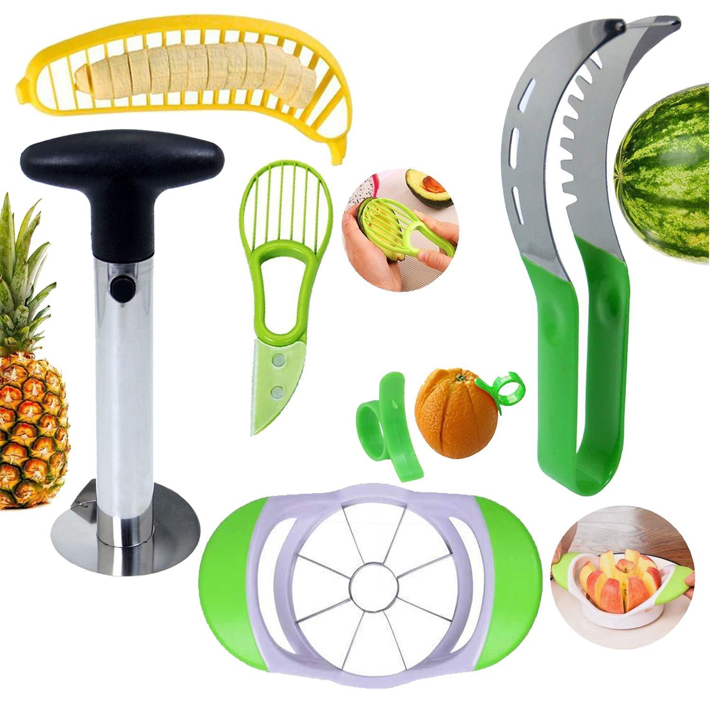 TOOYU Fruit Slicer Peeler Set of 6, Watermelon Slicer, Pineapple Corer, Apple Slicer, Banana Slicer, Avocado Slicer and Orange Peeler, Kitchen Fruit Tools Set by TOOYU