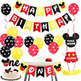 Mickey Themed 1st Birthday Party Supplies - Mickey and Minnie Party Decorations Welcome Sign Door Hanger Black Red…