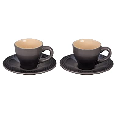 Le Creuset Stoneware Set of 2 Espresso Cups and Saucers - Oyster