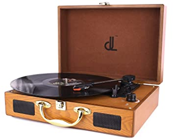 D&L Giradiscos de 3 Velocidades 33/45/78 Reproductor de Discos Portátil de Madera con Maleta Vintage con Altavoces Estéreo Incorporados, Grabador de ...