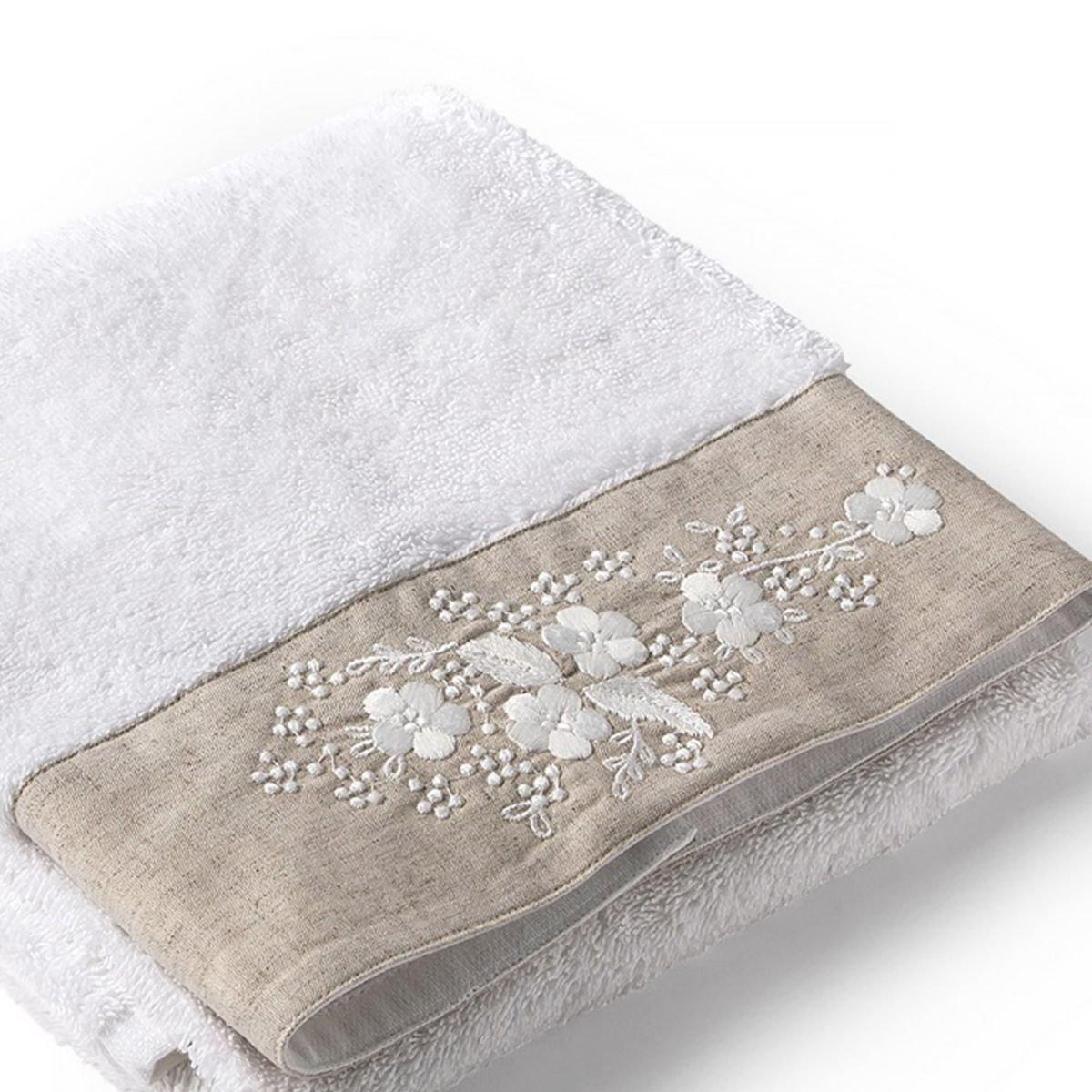 Tradition des Vosges Drap de Bain Serviette de Douche Serviette de Toilette Bucolique 100/% Coton brod/é 50 x 90 cm Blanc