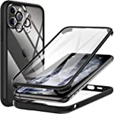 KKM iPhone 11 Pro Case, Full Body Rugged Case with Built-in Screen Protector & Tempered Glass Camera Lens Protector, Compatib