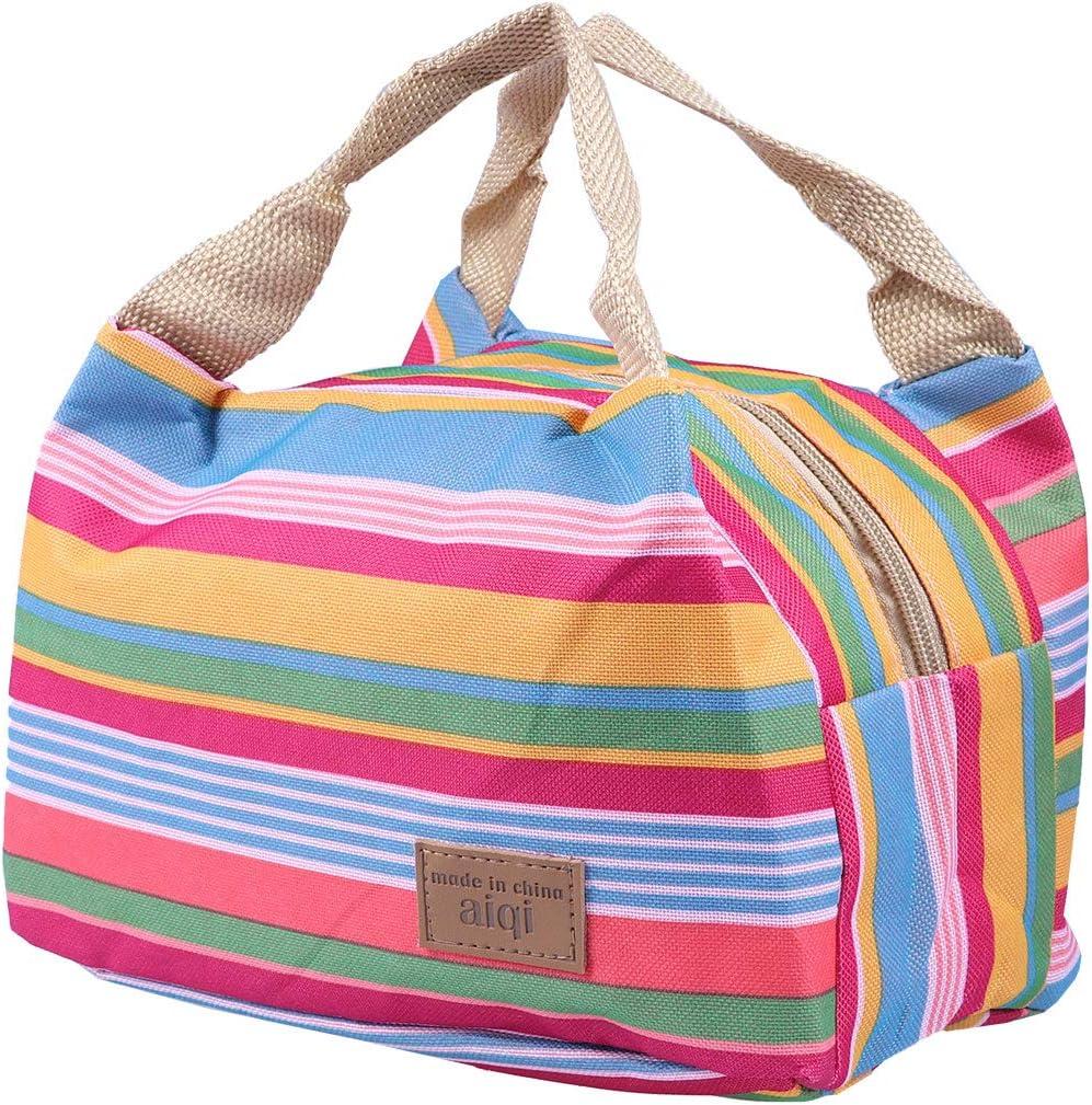 motivo a righe borsa termica con zip LUOEM borsa porta pranzo isolante in tessuto Oxford