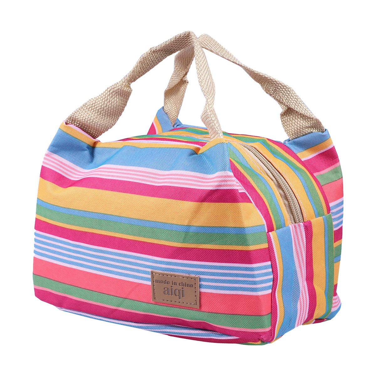 BESTOMZ Lunch Bag Insulated Lunch Tote Soft Bento Cooler Bag Travel Picnic Food Holder(Blue Striped) UKPPLBDH2894