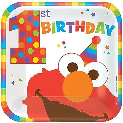 Sesame Street 1st Birthday Elmo Turns One Large Paper Plates