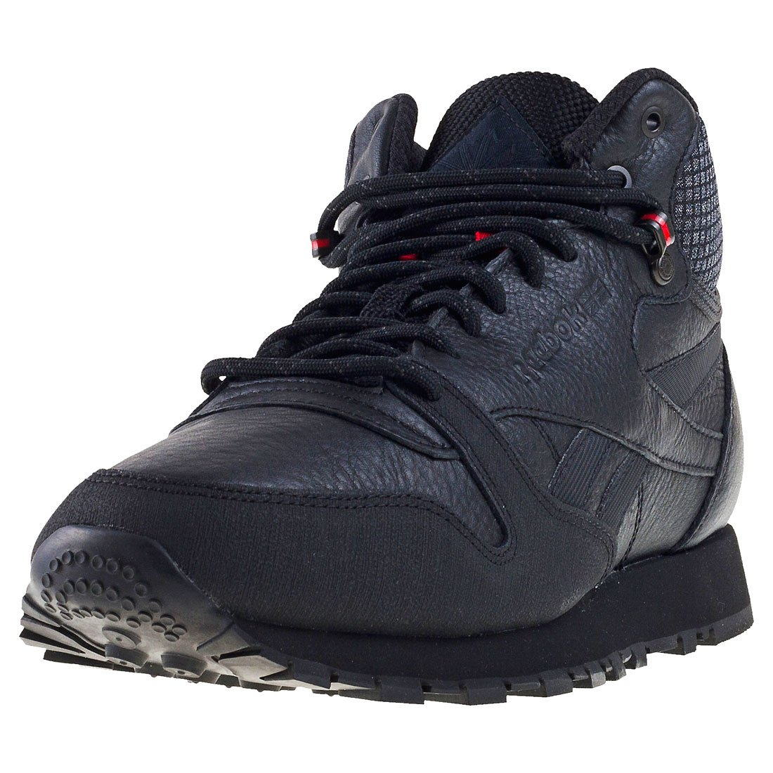 Reebok Herren CL Leather Mid TWD Fitnessschuhe  44 EU|Schwarz (Black/Excellent Red/Blackstone)