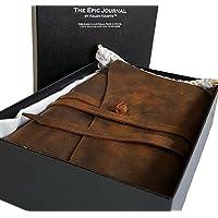 "Kalen Krafts ""The Epic Journal"" premium notebook. 100% Genuine Crazy Horse Leather, 21cmx15cm,120GSM-150 sheets/300 pages, pen-inlet."