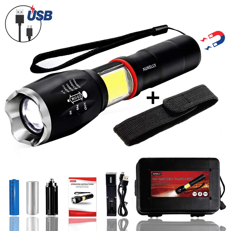 Aukelly LED Lampe de Poche Mini Lampe Torche Rechargeable LED Lampe Torche Puissante 1000 Lumen Lampe Poche USB Lampe Torche USB Lampe de Poche Rechargeable,4 Modes,Zoomable,Batterie 18650 Int/égr/ée
